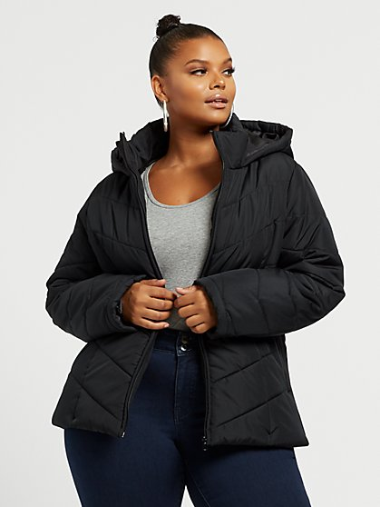Plus Size Lidie Short Puffer Coat - Fashion To Figure