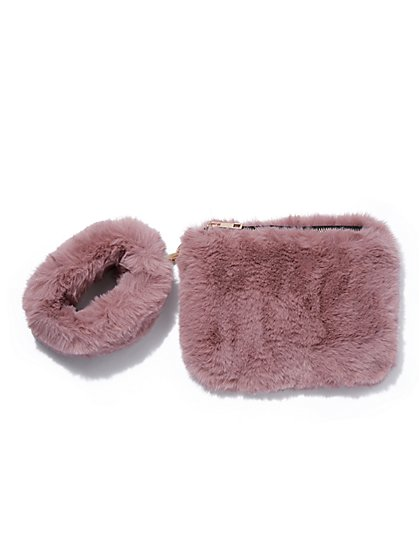 Plus Size Light Pink Faux-Fur Wristlet - Fashion To Figure