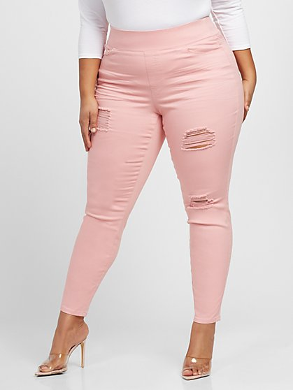Plus Size Light Pink High-Rise Jeggings - Fashion To Figure