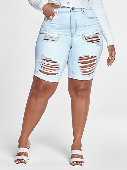 Plus Size Light Wash High Rise Destructed Bermuda Shorts - Fashion To Figure
