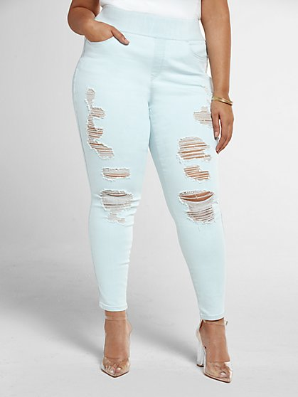 Plus Size Light Wash High-Rise Destructed Jeggings - Fashion To Figure