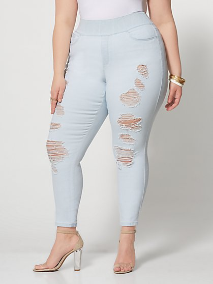 Plus Size Light Wash High-Rise Jeggings - Fashion To Figure