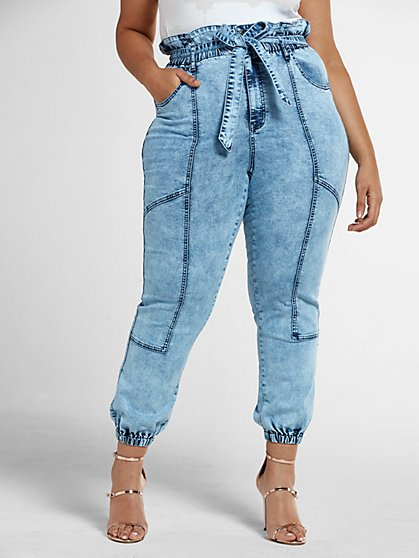 Plus Size Light Wash High Rise Paperbag Waist Jogger Jeans - Fashion To Figure