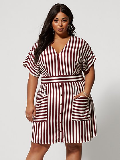 Plus Size Lila Button Detail Striped Flare Dress - Fashion To Figure