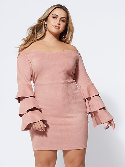 Plus Size Lila Faux-Suede Bodycon Dress - Fashion To Figure