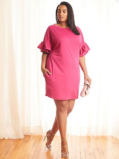 Plus Size Lila Ruffle-Sleeve Shift Dress - Fashion To Figure