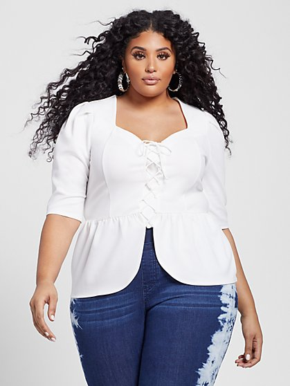 Plus Size Liliana Lace Up Peplum Top - Fashion To Figure