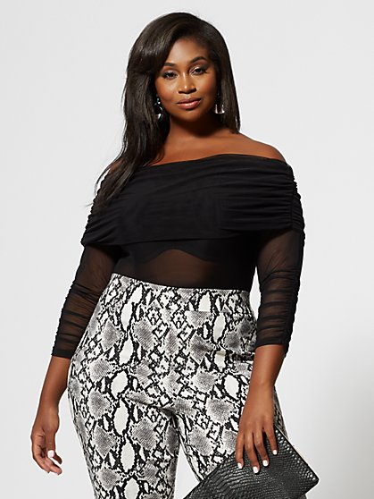 Plus Size Lilith Off Shoulder Mesh Bodysuit - Fashion To Figure