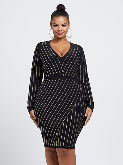 Plus Size Lily Stud Detail Bodycon Dress - Fashion To Figure