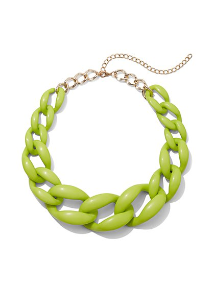 Plus Size Lime Green Chain Statement Necklace - Fashion To Figure