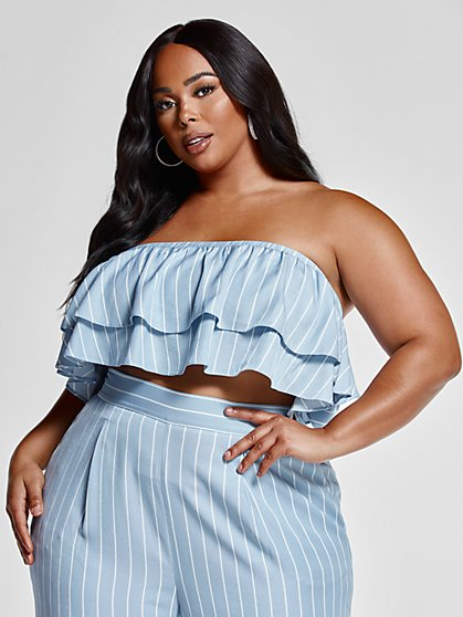 Plus Size Lina Strapless Striped Flounce Tube Top - Fashion To Figure