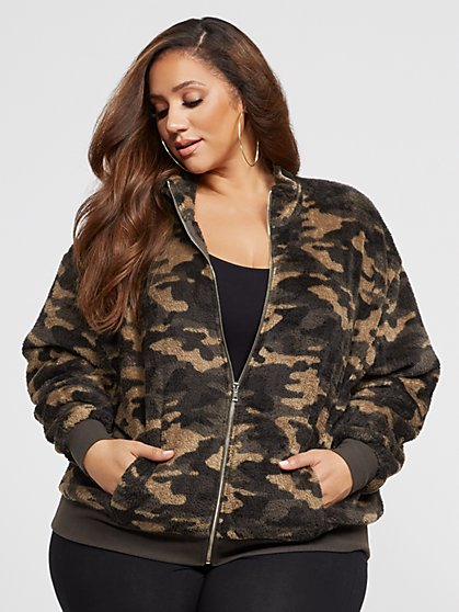 Plus Size Linda Fuzzy Camo Jacket - Fashion To Figure