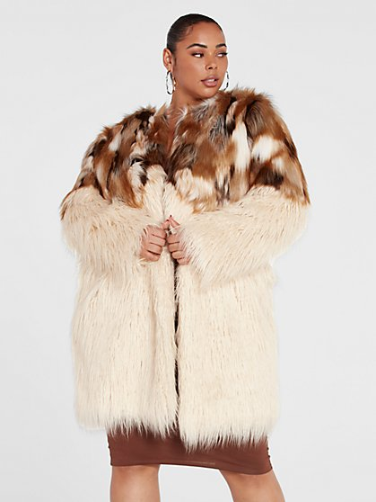 Plus Size Lisa Mixed Faux Fur Coat - Fashion To Figure