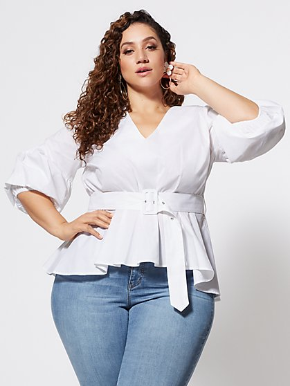 Plus Size Lisbeth Belted Peplum Top - Fashion To Figure