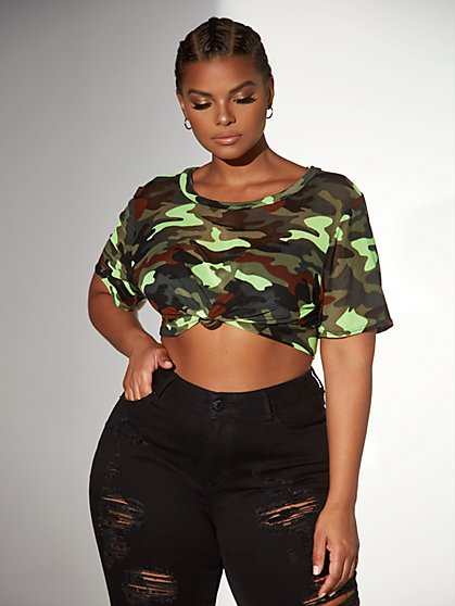 Plus Size Lisette Camo Mesh Top - Fashion To Figure