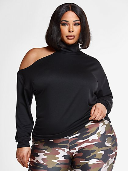 Plus Size Lisette Mockneck Sweatshirt with Cutout Shoulder Detail - Fashion To Figure
