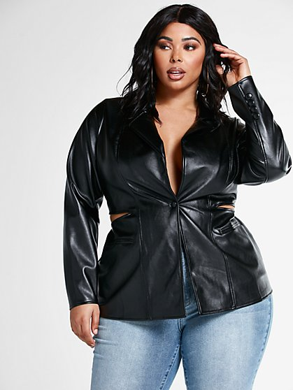 Plus Size Liv Faux Leather Blazer with Cutout Detail - Fashion To Figure