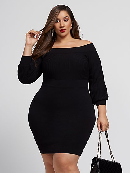 Plus Size Lizzie Black Sweater Dress - Fashion To Figure