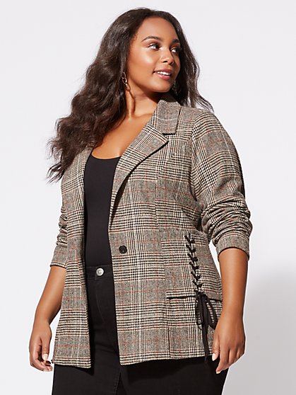 Plus Size Lizzie Plaid Blazer - Fashion To Figure