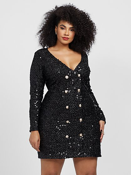 Plus Size Lizzie Sequin Blazer Dress - Fashion To Figure