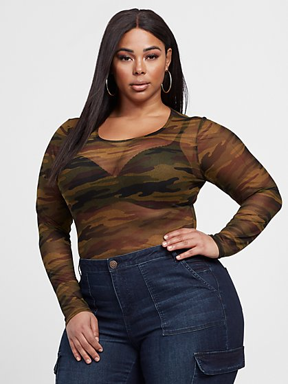 Plus Size Logan Camo Mesh Bodysuit - Fashion To Figure