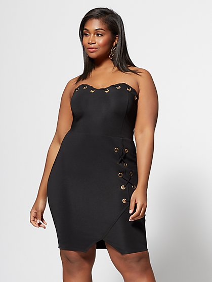 Plus Size Logan Grommet Detail Bodycon Dress - Fashion To Figure