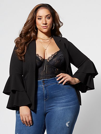 Plus Size Lola Bell-Sleeve Blazer - Fashion To Figure