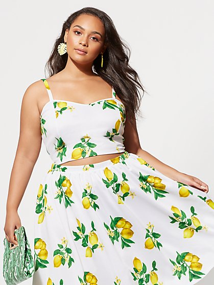 Plus Size Lola Lemon Crop Top - Fashion To Figure