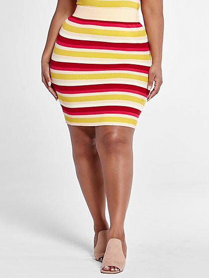 Plus Size Lola Striped Rib Knit Skirt - Fashion To Figure