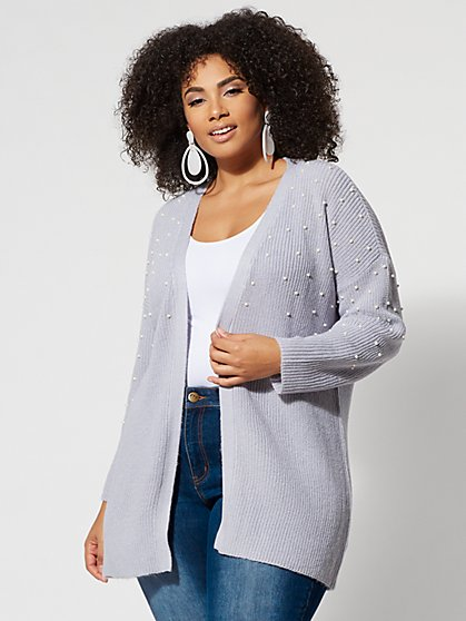 Plus Size Long Pearl-Accented Cardigan - Fashion To Figure