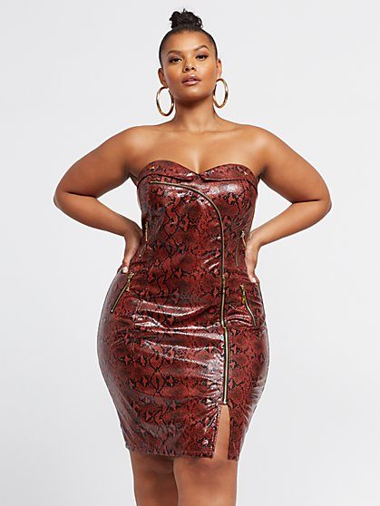 Plus Size Lorelia Faux-Snake Bodycon Dress - Fashion To Figure