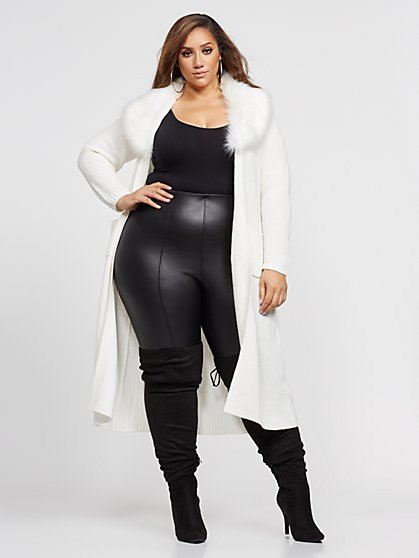 Plus Size Loria Belted Faux-Fur Trim Cardigan - Fashion To Figure