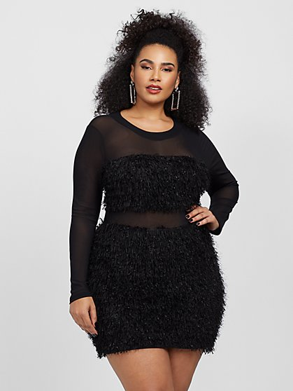 Plus Size Lottie Faux-Feather Trim Dress - Fashion To Figure