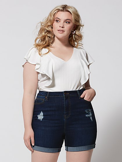 Plus Size Lottie Flutter Sleeve Bodysuit - Fashion To Figure