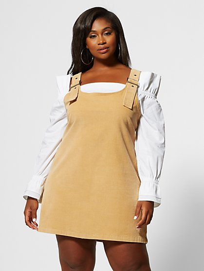 Plus Size Lourdes Corduroy Jumper Dress - Fashion To Figure