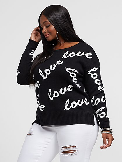 Plus Size Love Print Sweater - Fashion To Figure