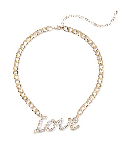 Plus Size Love Rhinestone Necklace - Fashion To Figure