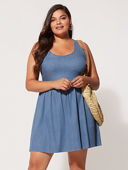 Plus Size Luciana Bow Back Denim Dress - Fashion To Figure