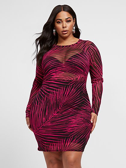 Plus Size Luciana Palm Print Mesh Bodycon Dress - Fashion To Figure
