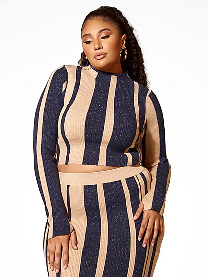 Plus Size Lucy Striped Mockneck Cropped Sweater - Fashion To Figure