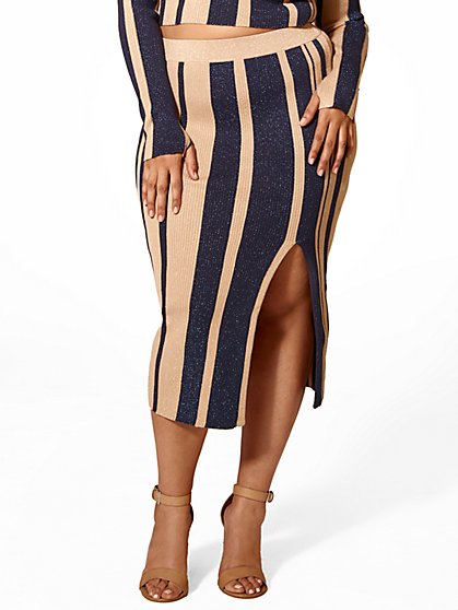 Plus Size Lucy Striped Sweater Skirt - Fashion To Figure
