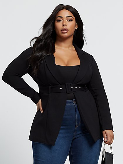 Plus Size Luella Long Belted Blazer - Fashion To Figure
