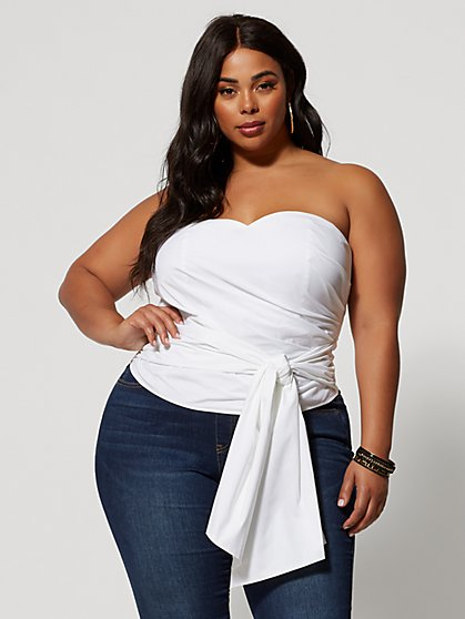 Plus Size Lulu Tie Waist Bustier Top - Fashion To Figure