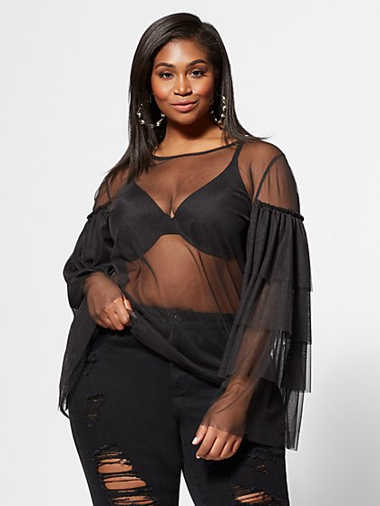 Plus Size Luna Mesh Top - Fashion To Figure