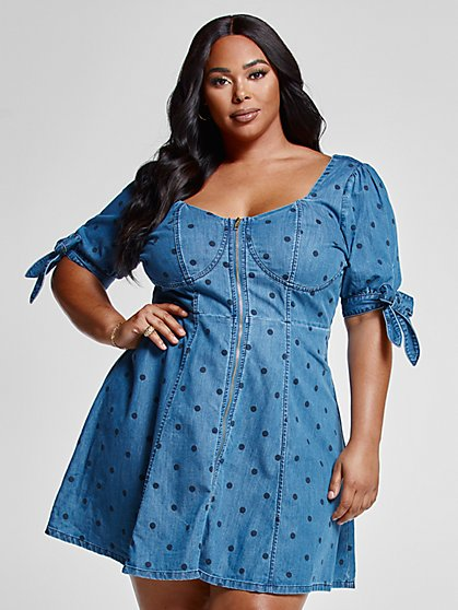 Plus Size Luna Polka Dot Denim Dress - Fashion To Figure