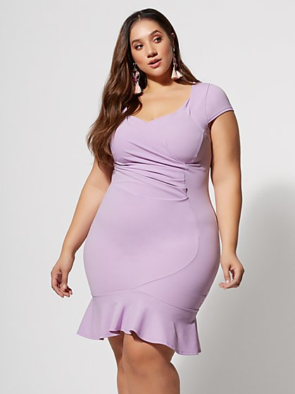 Plus Size Luna Ruched Side Bodycon Dress - Fashion To Figure
