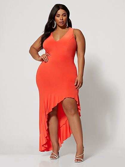 Plus Size Luzena Ruffle Hem Maxi Dress - Fashion To Figure