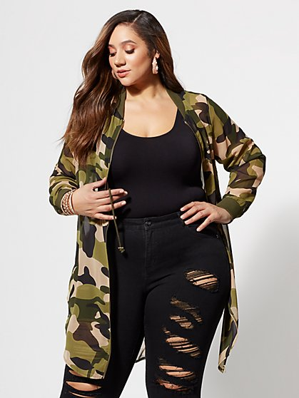 Plus Size Lynne Camo Bomber Jacket - Fashion To Figure