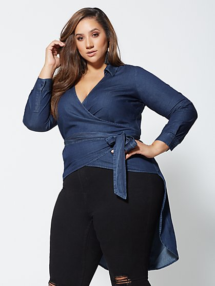 Plus Size Lynnette Denim High-Low Wrap Top - Fashion To Figure