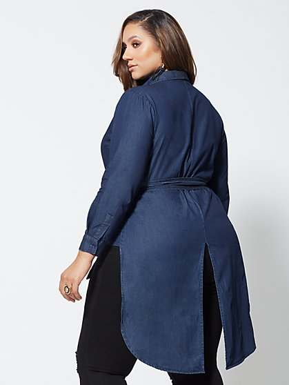 2f70ca284f377 ... Plus Size Lynnette Denim High-Low Wrap Top - Fashion To Figure